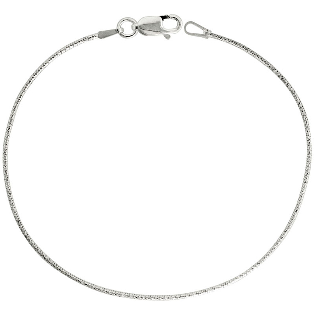 Sterling Silver Snake Chain Necklace 1mm Thin Diamond Cut Finish Nickel Free Italy, 7-30 inch