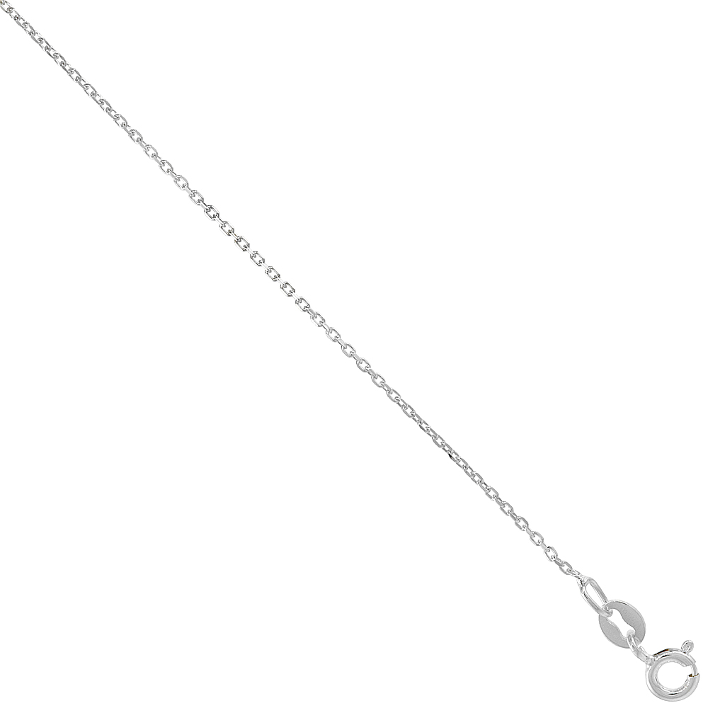 Sterling Silver fine Boston Link Chain Necklace 1mm Very Thin Nickel Free Italy sizes 16 - 18 inch