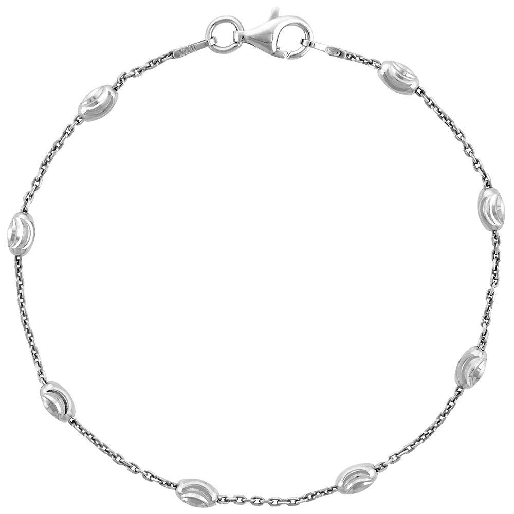 Sterling Silver Oval Bead Station Necklaces & Bracelets 3mm Diamond cut Nickel Free Italy, 7-30 inch