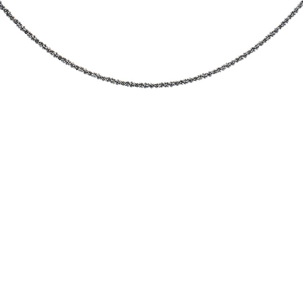Sterling Silver Sparkle Rock Chain Necklace 1.8mm Diamond cut Rhodium Finish Nickel Free Italy, 7-30 inch
