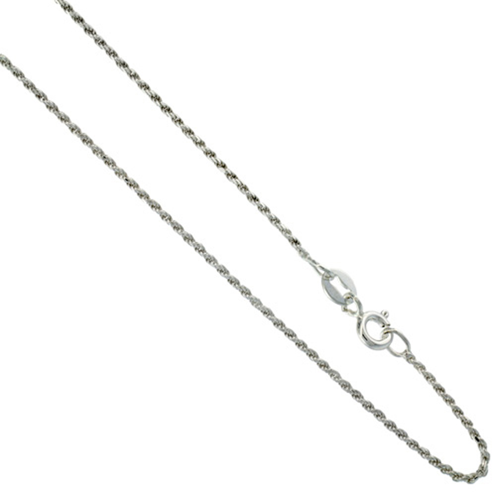 Sterling Silver Rope Chain Necklace 1mm Very Thin Diamond Cut Nickel Free Italy, sizes 16 - 20 inch