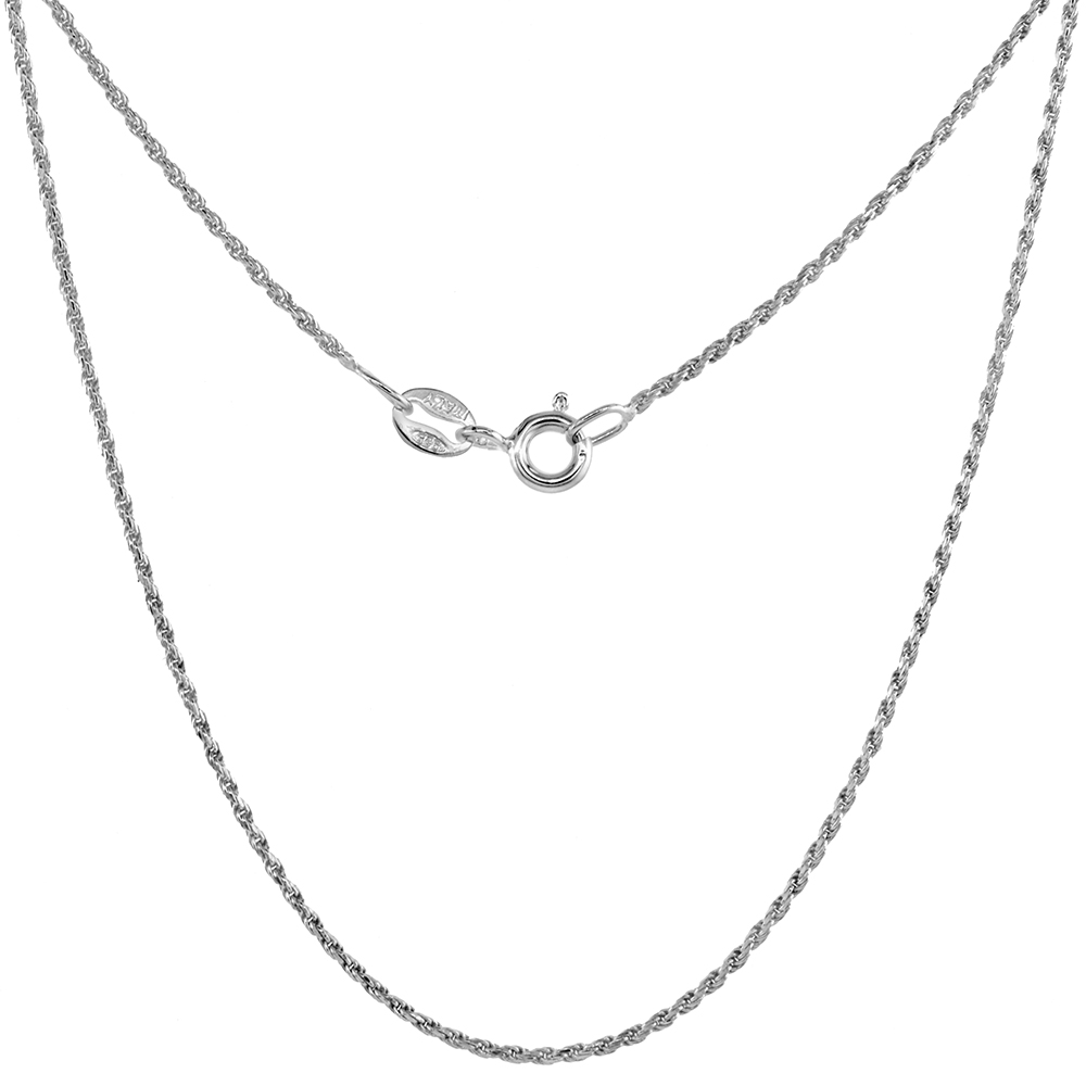 Very Thin Sterling Silver 1mm Rope Chain Necklace for Women Diamond Cut Nickel Free Italy 16 - 20 inch