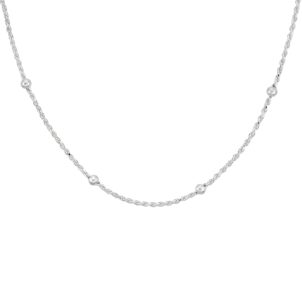 Sterling Silver Rope Chain Station Necklaces & Anklets 4mm Beads Nickel Free Italy, sizes 7 - 30 inch