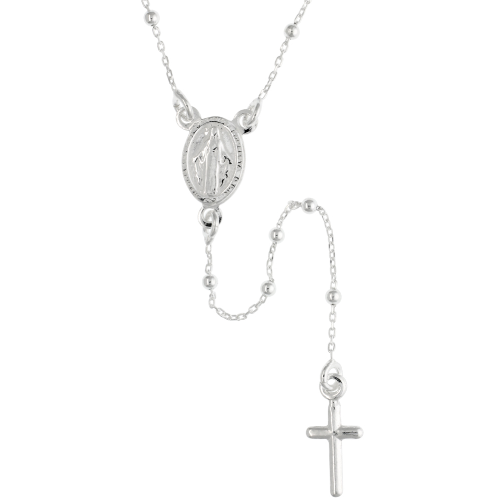 Sterling Silver Baby Rosary Necklace Dainty 1.8 mm Beads Handmade for women Italy, 18 inch