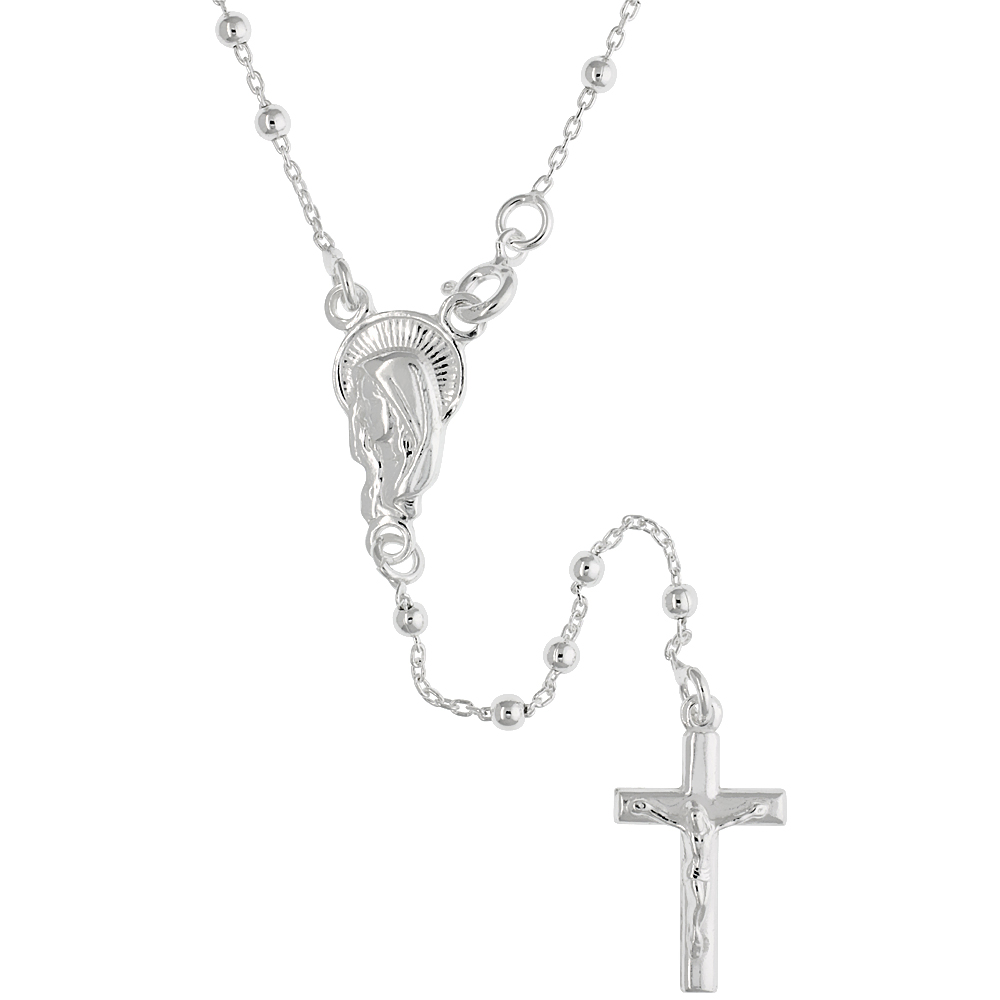 Sterling Silver Rosary Necklace 2 mm Beads made in Italy