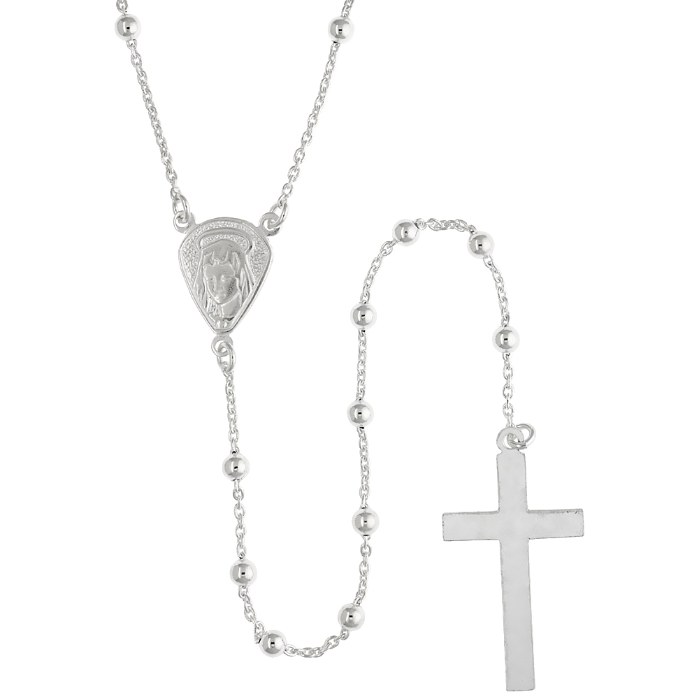 Sterling Silver Rosary Necklace 3 mm Beads made in Italy