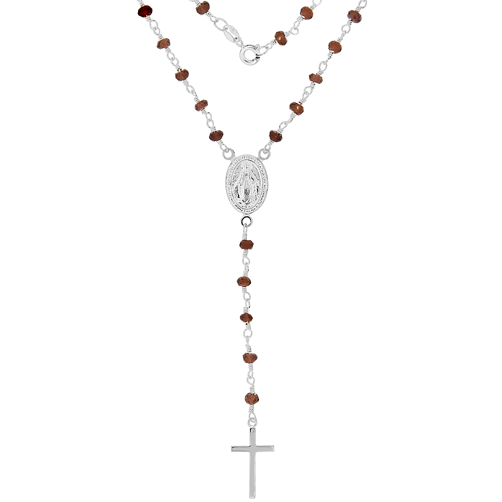 Sterling Silver Dainty Garnet Rosary Necklace 3mm Beads Faceted Natural Stones Handmade, 18 inch