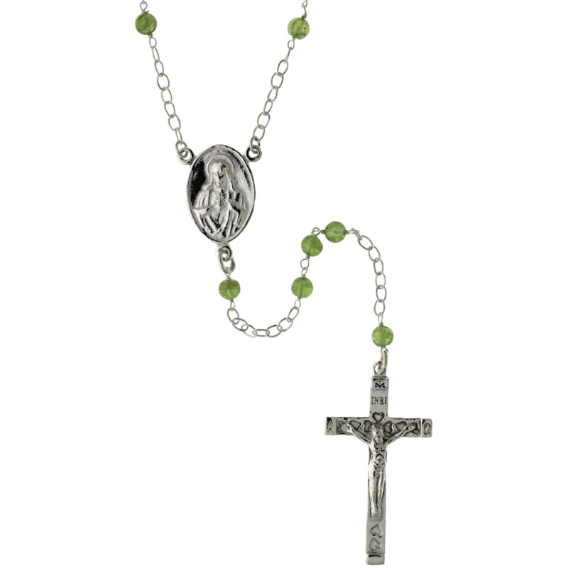 Sterling Silver Natural Peridot Rosary Necklace 4mm Beads Mother Mary & Sacred Heart of Jesus Center, 26 inch