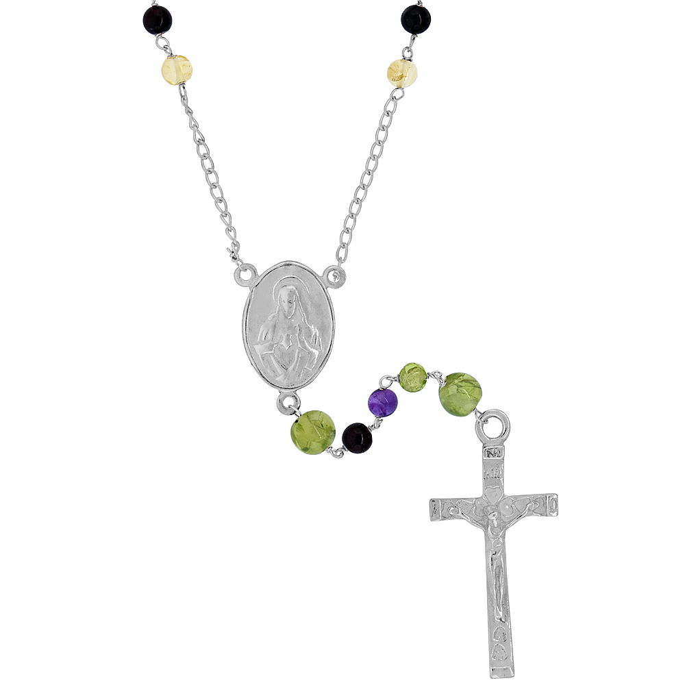 Sterling Silver Multicolor Beads Rosary Necklace Mother Mary & Sacred Heart of Jesus Center, 25 inch