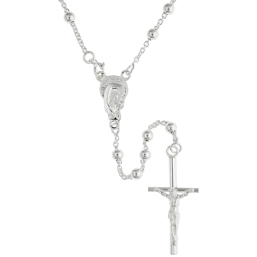 Sterling Silver Rosary Necklace 4 mm Beads made in Italy