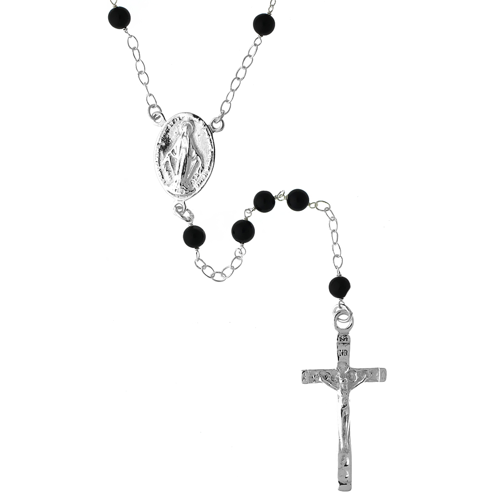 Sterling Silver Natural Black Onyx Rosary Necklace 5mm Beads Mother Mary & Sacred Heart of Jesus Center, 26 inch