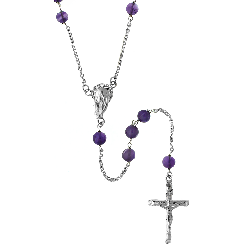 Sterling Silver Natural Amethyst Rosary Necklace 5mm Beads Mother Mary Center, 26 inch