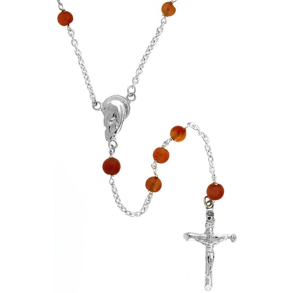 Sterling Silver 4mm Genuine Carnelian Rosary Necklace Mother Mary Center 26 inch