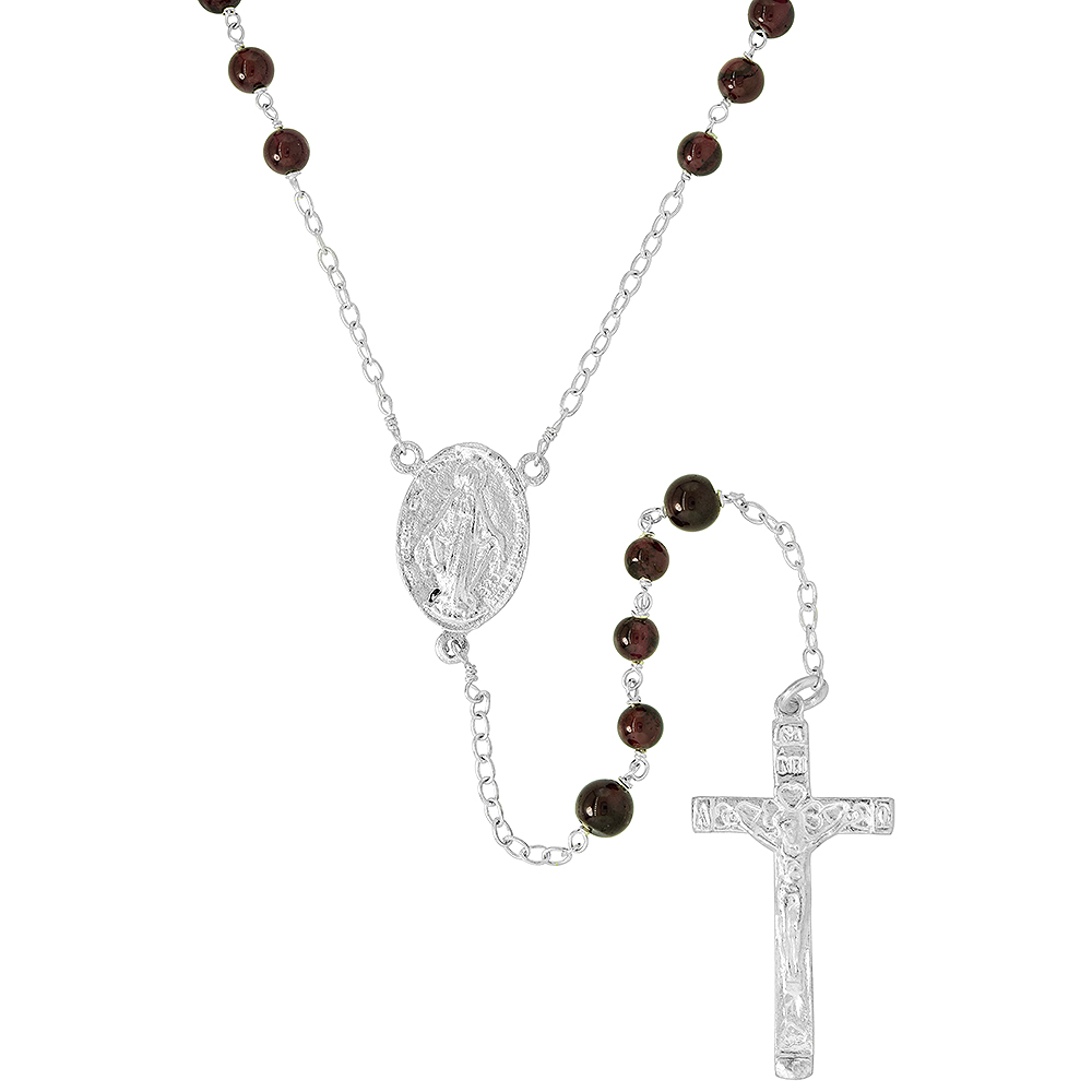 Sterling Silver Natural Garnet Rosary Necklace 6mm Beads Mother Mary & Sacred Heart of Jesus Center, 30 inch
