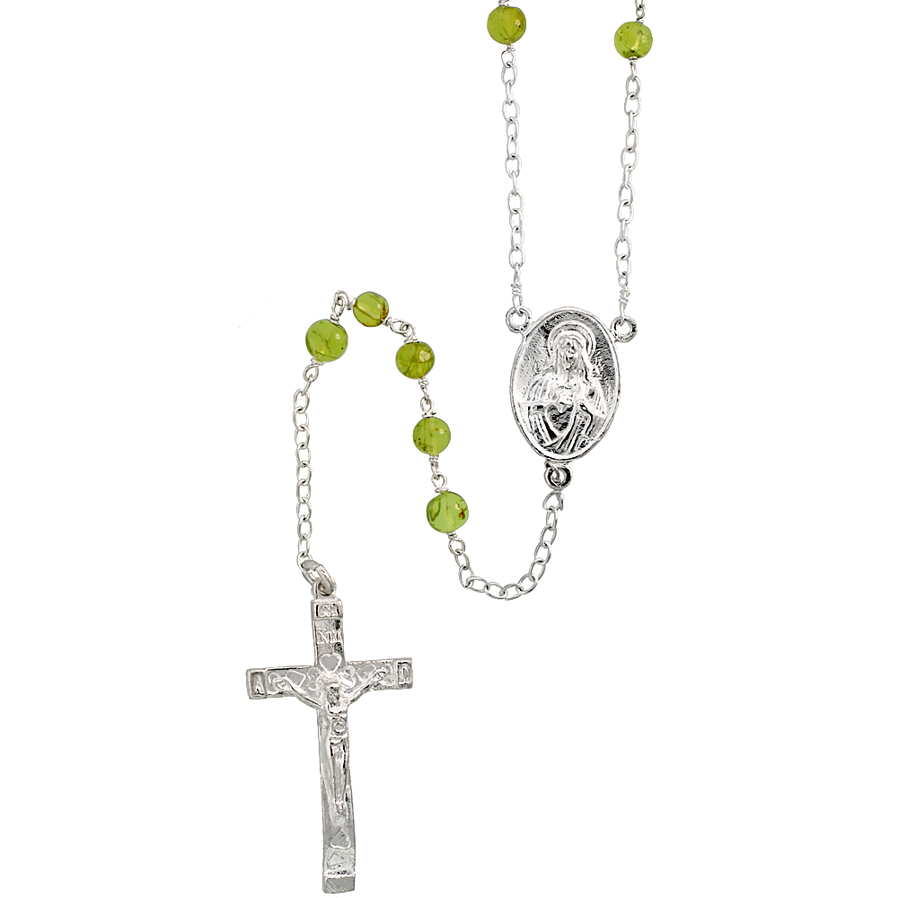 Sterling Silver Natural Peridot Rosary Necklace 6mm Beads Mother Mary & Sacred Heart of Jesus Center, 30 inch