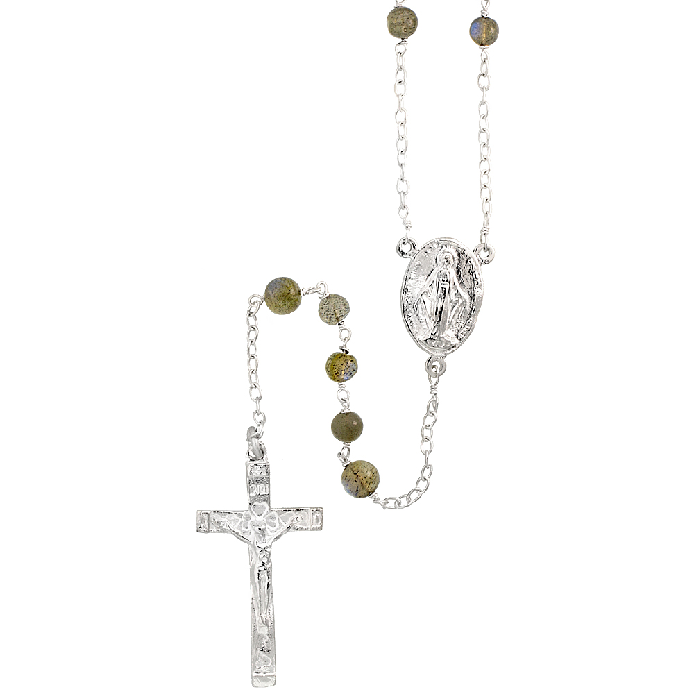 Sterling Silver Natural Labradorite Rosary Necklace 6mm Beads Mother Mary & Sacred Heart of Jesus Center, 30 inch