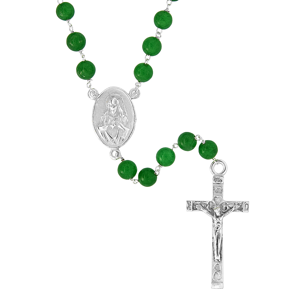 Sterling Silver Natural Green Onyx Rosary Necklace 6mm Beads Mother Mary & Sacred Heart of Jesus Center, 30 inch