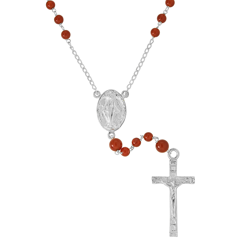 Sterling Silver 6mm Genuine Carnelian Rosary Necklace Mother Mary & Sacred Heart of Jesus 30 inch