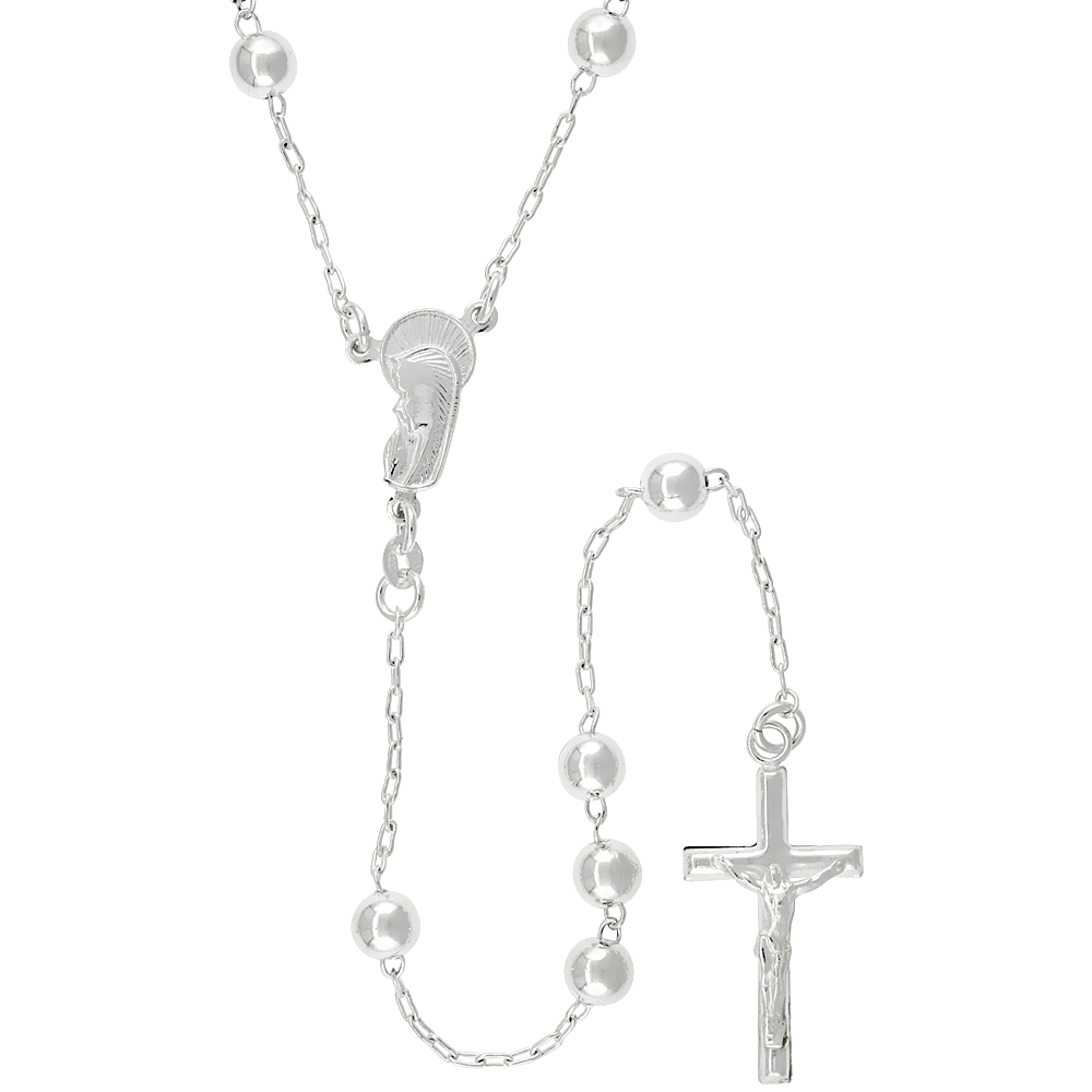 Sterling Silver Rosary Necklace 6 mm Beads made in Italy