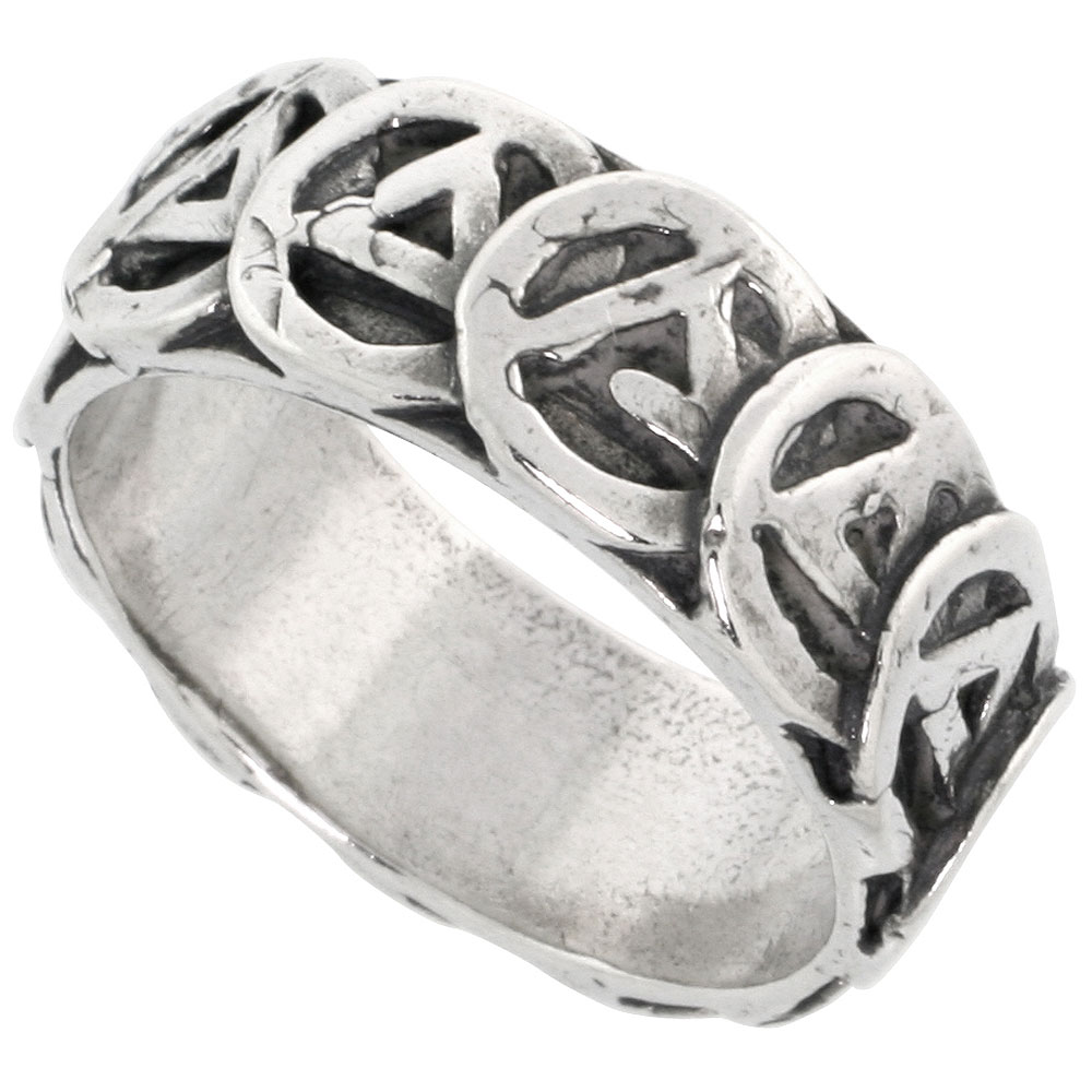 Sterling Silver AA Recovery Ring (sizes 8 to 13), Finish, 5/16 inch (8 mm) wide