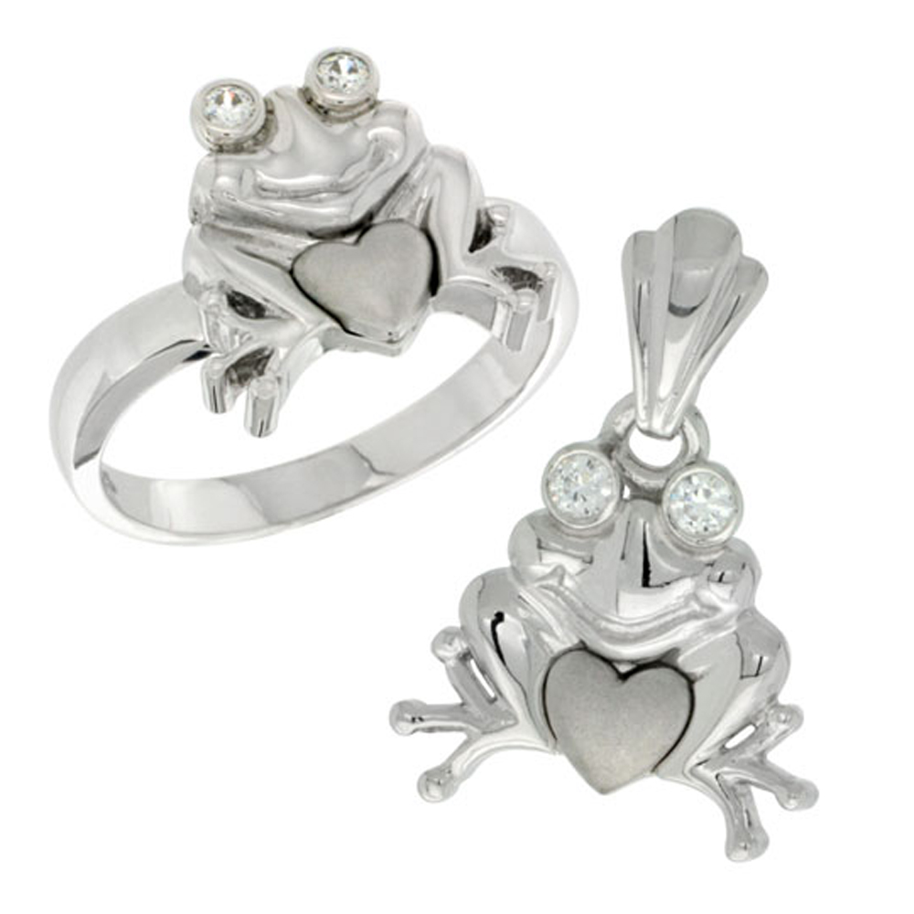 Sterling Silver Frog & Heart Ring & Pendant Set CZ Stones Rhodium Finished