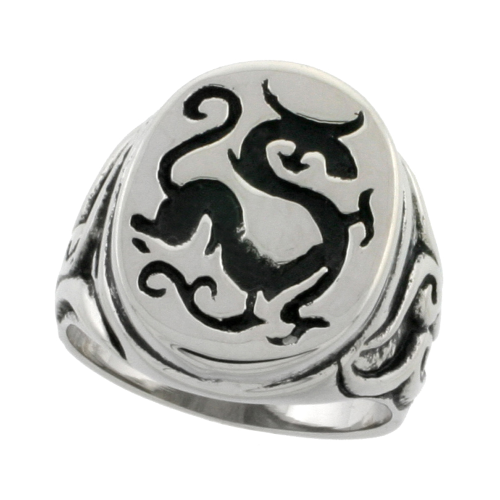 Stainless Steel Chinese Dragon Ring Signet Style Biker Rings for men 7/8 inch, sizes 9 - 15