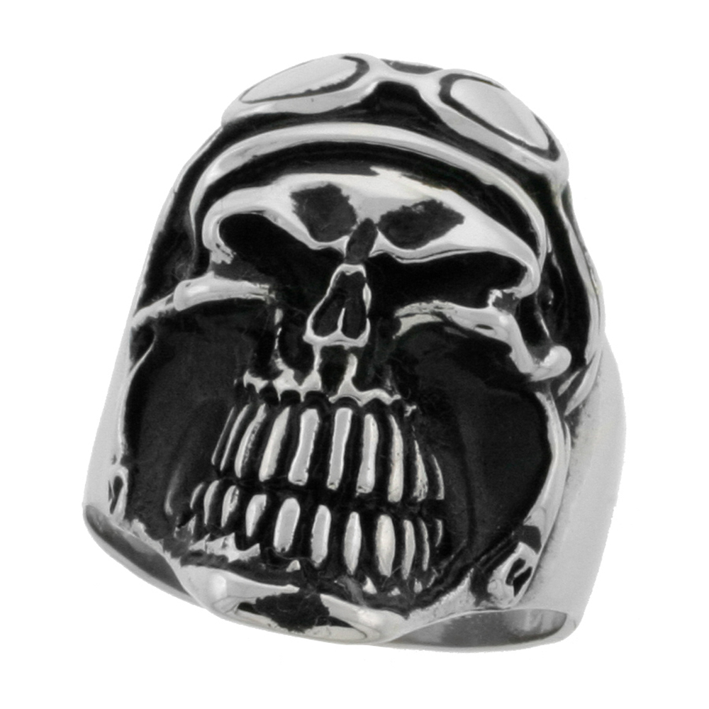 Stainless Steel Skull Ring Helmet and Goggles biker Rings for men 1 1/4 inch, sizes 10 - 15