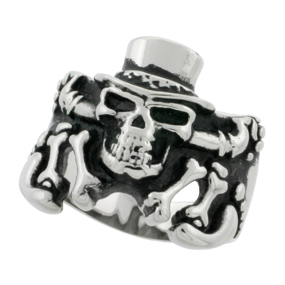 gagafeel halloween for cool jewelry men ring punk products skeleton skull rings adjustable sterling party silver hiphop
