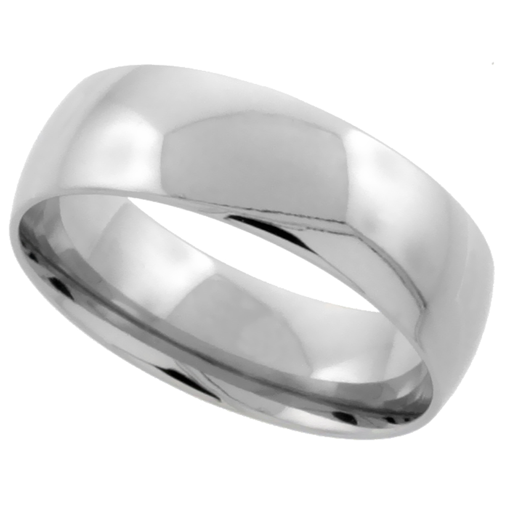 Stainless Steel 8mm Comfort-Fit Domed Band, sizes 5 - 15