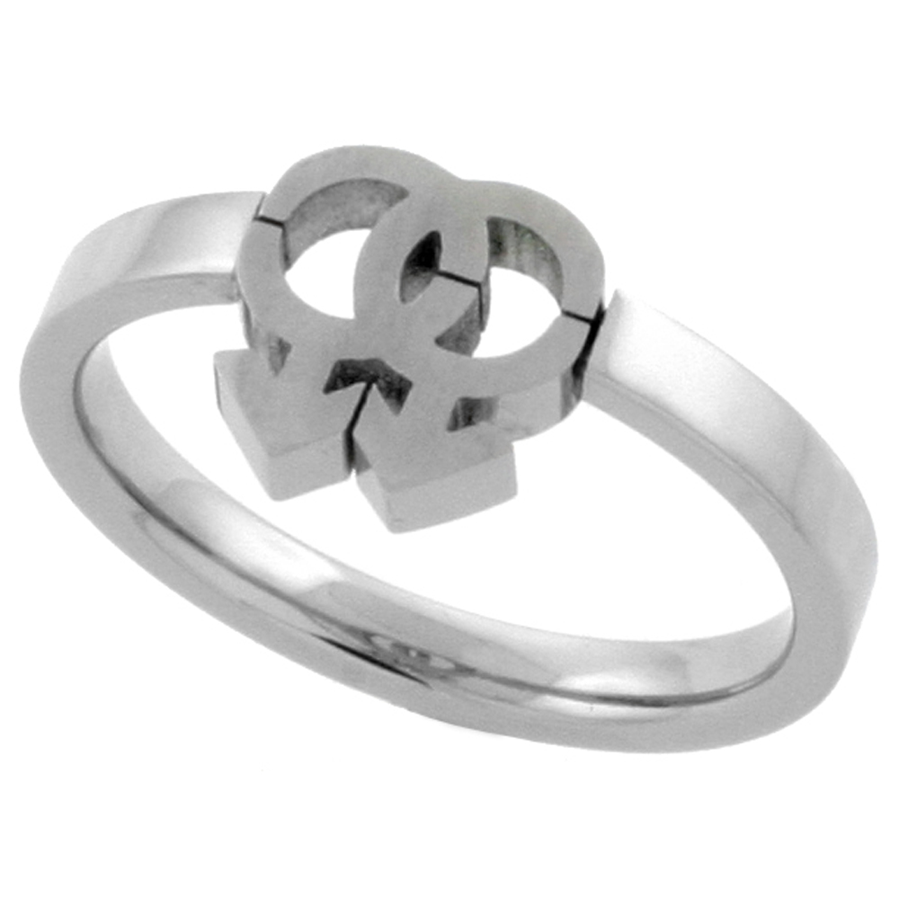 Stainless Steel Gay Symbol Ring Cut-out 7/16 inch, sizes 9 - 13