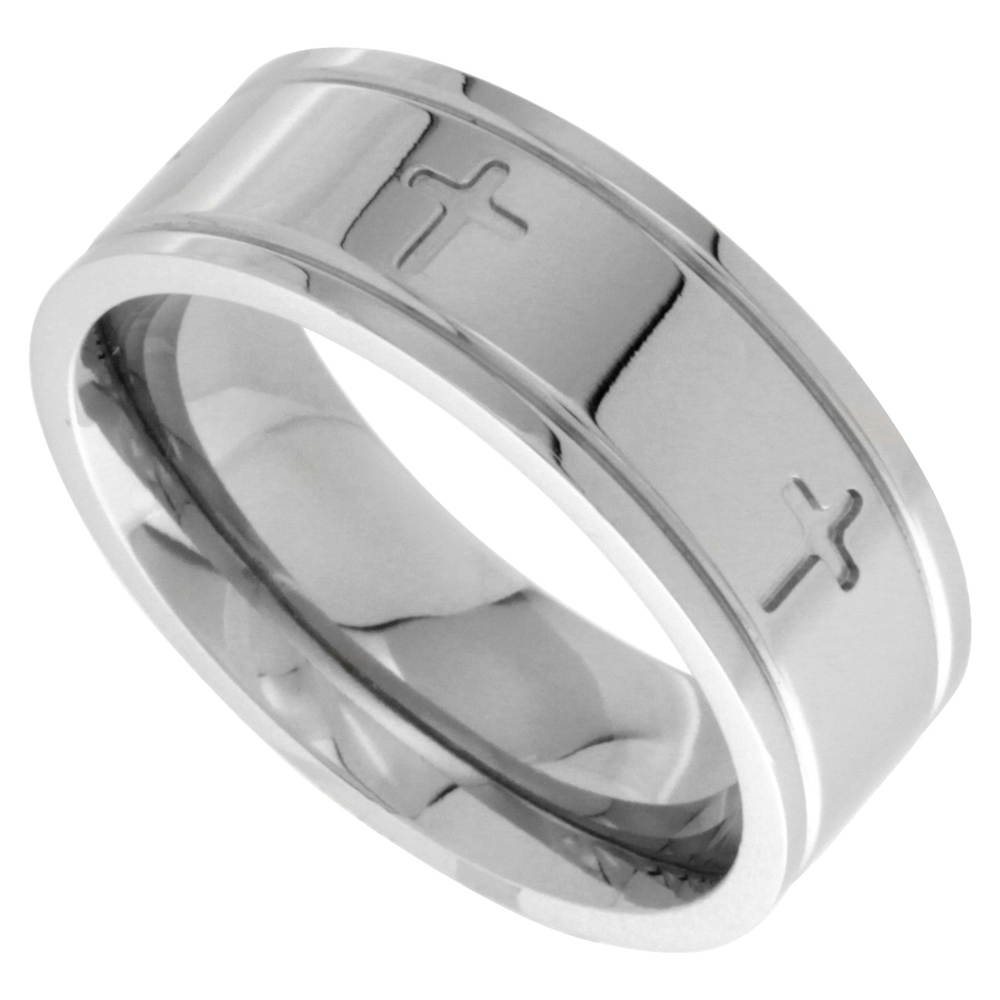Surgical Stainless Steel 8mm Cross Wedding Band Ring Comfort-fit, sizes 6 - 14