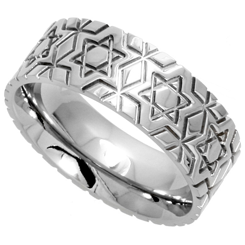 Surgical Stainless Steel 8mm Wedding Band Ring Star Of David Pattern Comfort-Fit, sizes 6 - 14