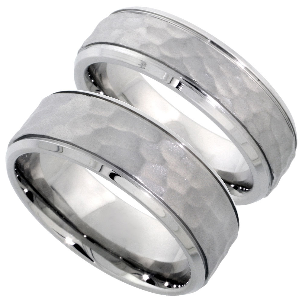 Stainless Steel Wedding Band Set Hammered 8 & 6 mm His & Hers Comfort Fit, sizes 5 - 14