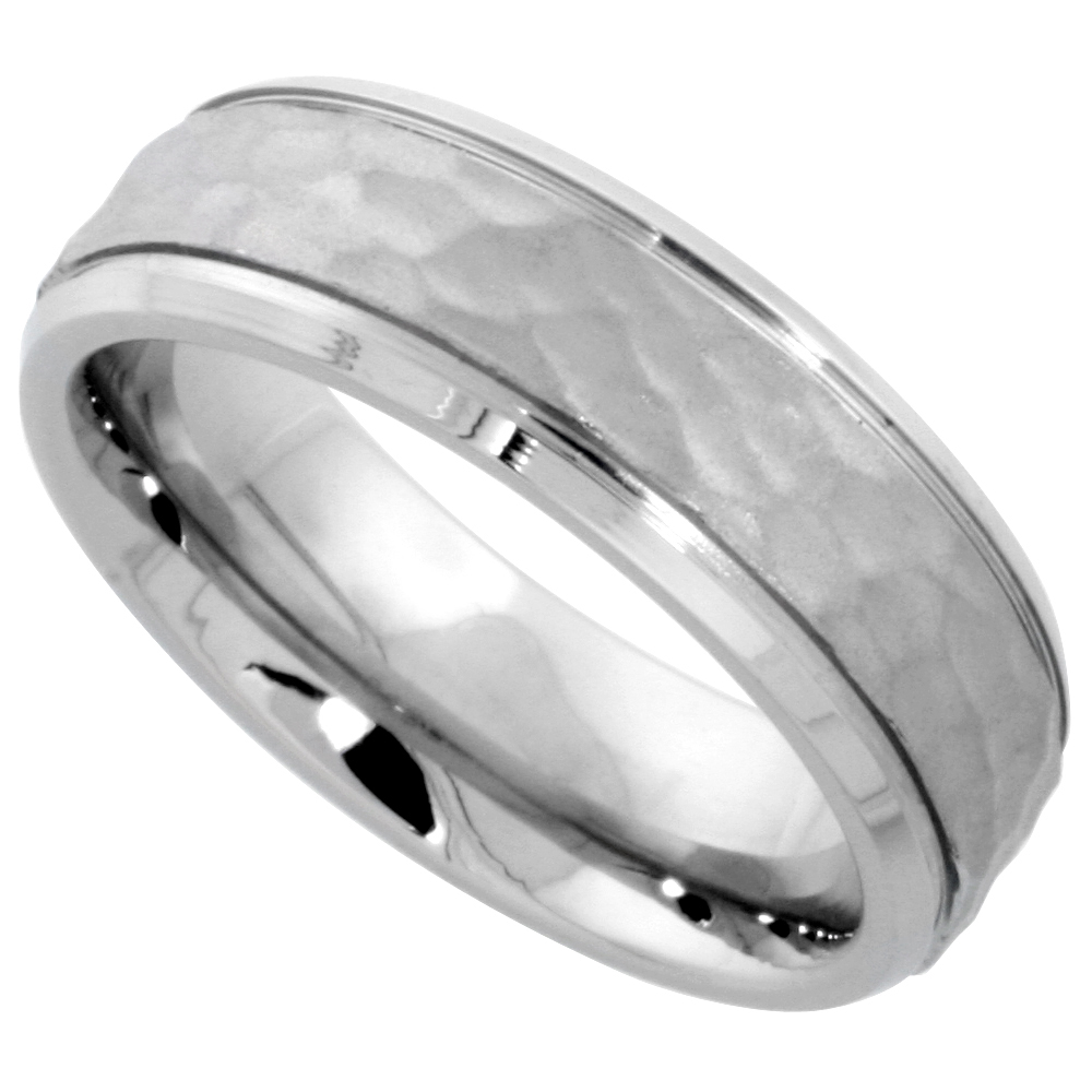 Surgical Stainless Steel 6mm Hammered Wedding Band Ring Grooved Beveled Edges Comfort-Fit, sizes 5 - 9