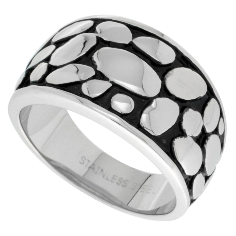 Surgical Stainless Steel Cigar Band Ring Bali Pebbles Pattern 1/2 inch wide, sizes 5 - 9