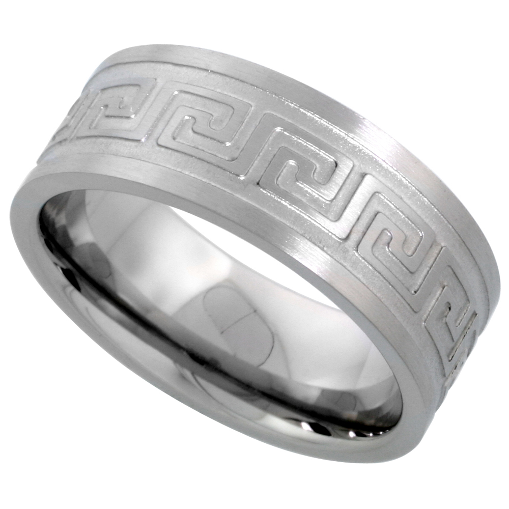 Surgical Stainless Steel 8mm Greek Key Wedding Band Ring Comfort-Fit, sizes 7 - 14