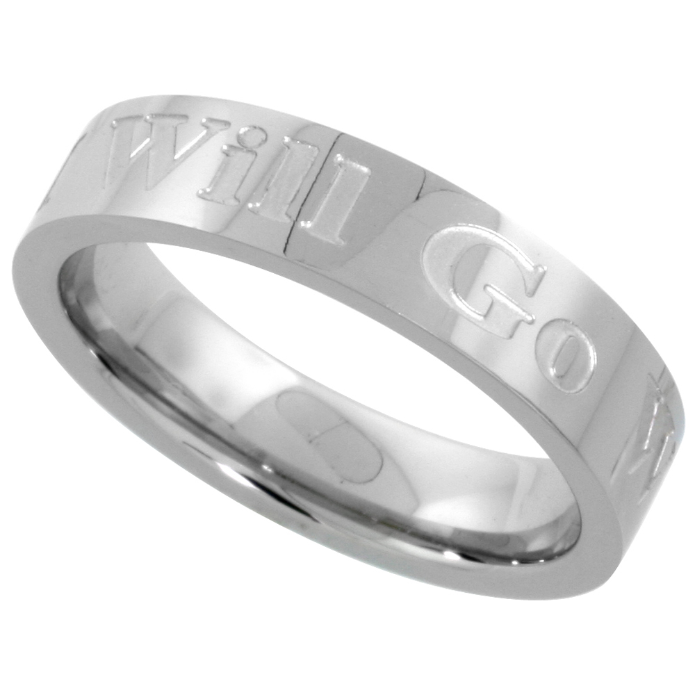 Surgical Stainless Steel 5mm WHERE YOU GO I WILL GO Wedding Band Ring Comfort-fit, sizes 5 - 9