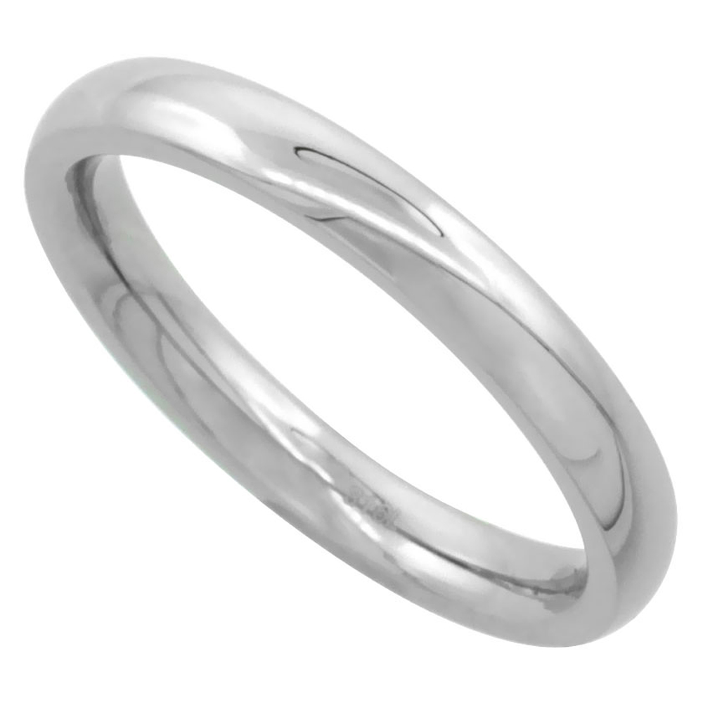 Surgical Stainless Steel 3mm Domed Wedding Band Thumb / Toe Ring Comfort-Fit High Polish, sizes 5 - 12
