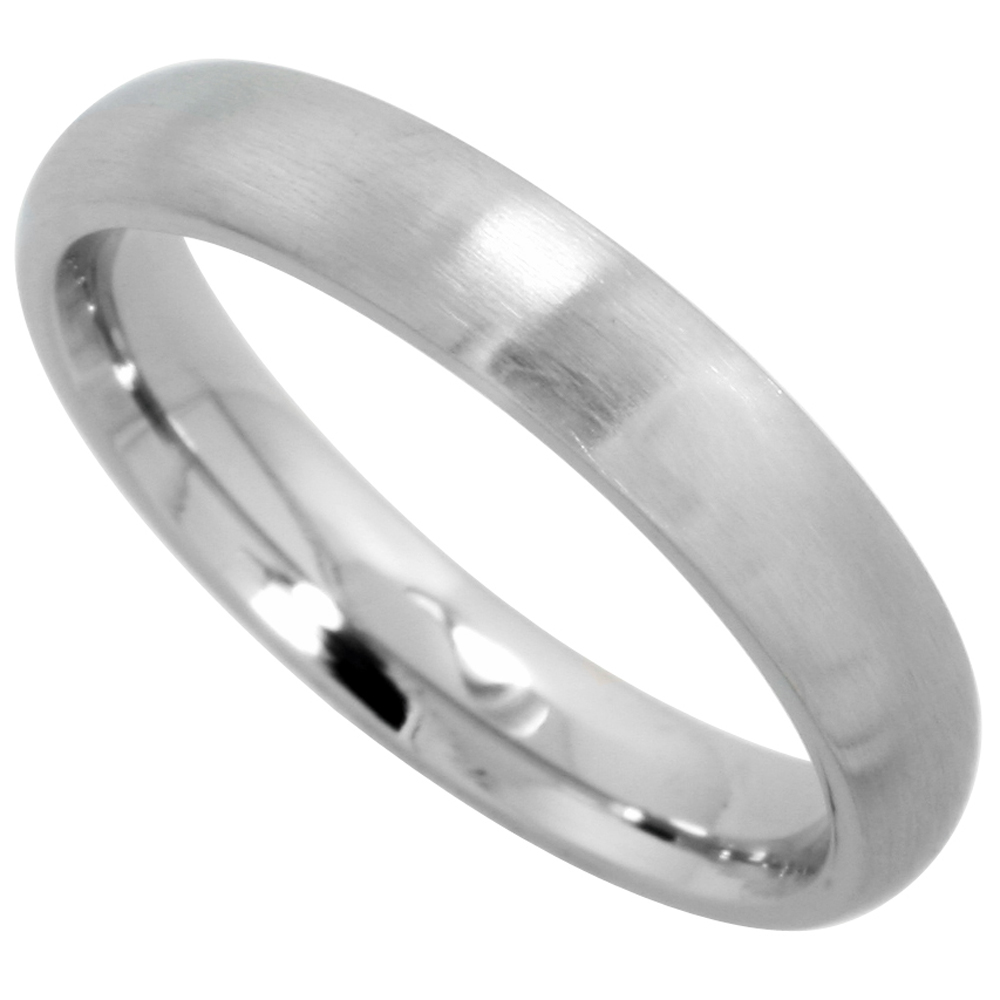 Surgical Stainless Steel 4mm Domed Wedding Band Thumb Ring Comfort-Fit Matte Finish, sizes 5 - 12