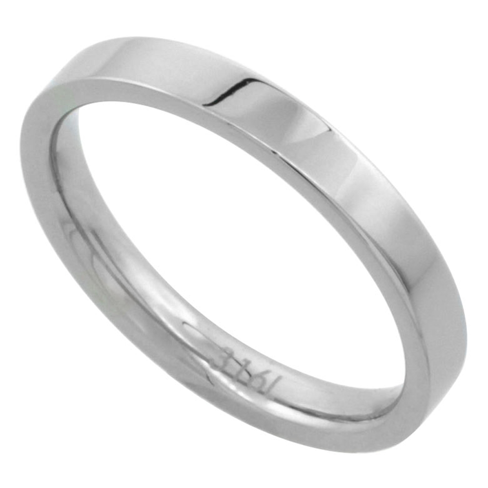 Surgical Stainless Steel 3mm Wedding Band Thumb / Toe Ring Comfort-Fit High Polish, sizes 5 - 12