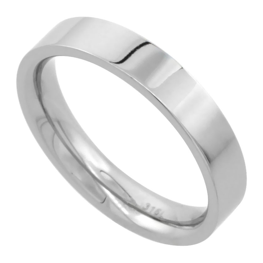 Stainless Steel Pipe Cut Flat 4mm Wedding Band / Thumb Ring Comfort fit High Polish, sizes 5 - 12