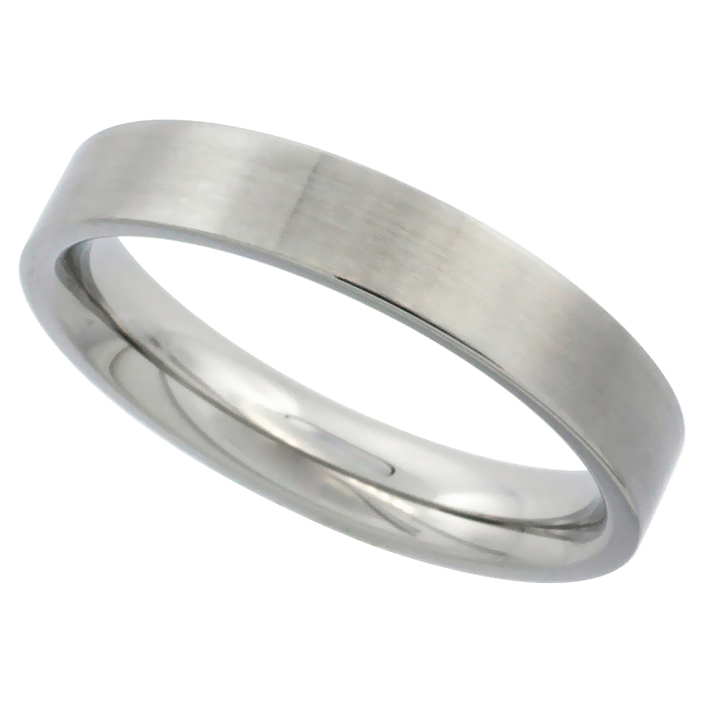 Surgical Stainless Steel 4mm Wedding Band Thumb Ring Comfort-Fit Matte Finish, sizes 5 - 12