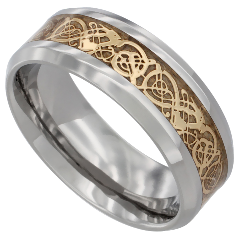 Surgical Stainless Steel 8mm Celtic Dragon Wedding Band Ring Gold Color Comfort Fit, sizes 8 - 12