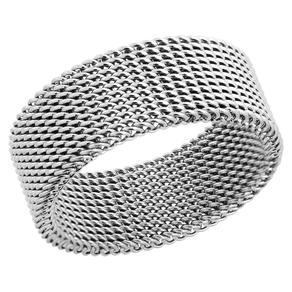 Surgical Stainless Steel 8 mm Mesh Ring Wedding Band, sizes 6 and 8