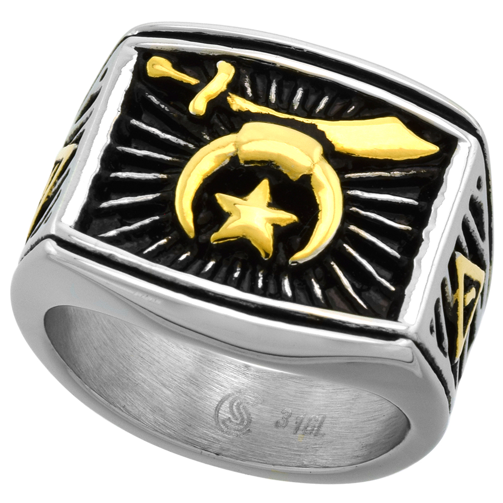 Stainless Steel Masonic Shriners Ring for Men Two Tone Rectangular 3/4 inch wide size 9 - 13