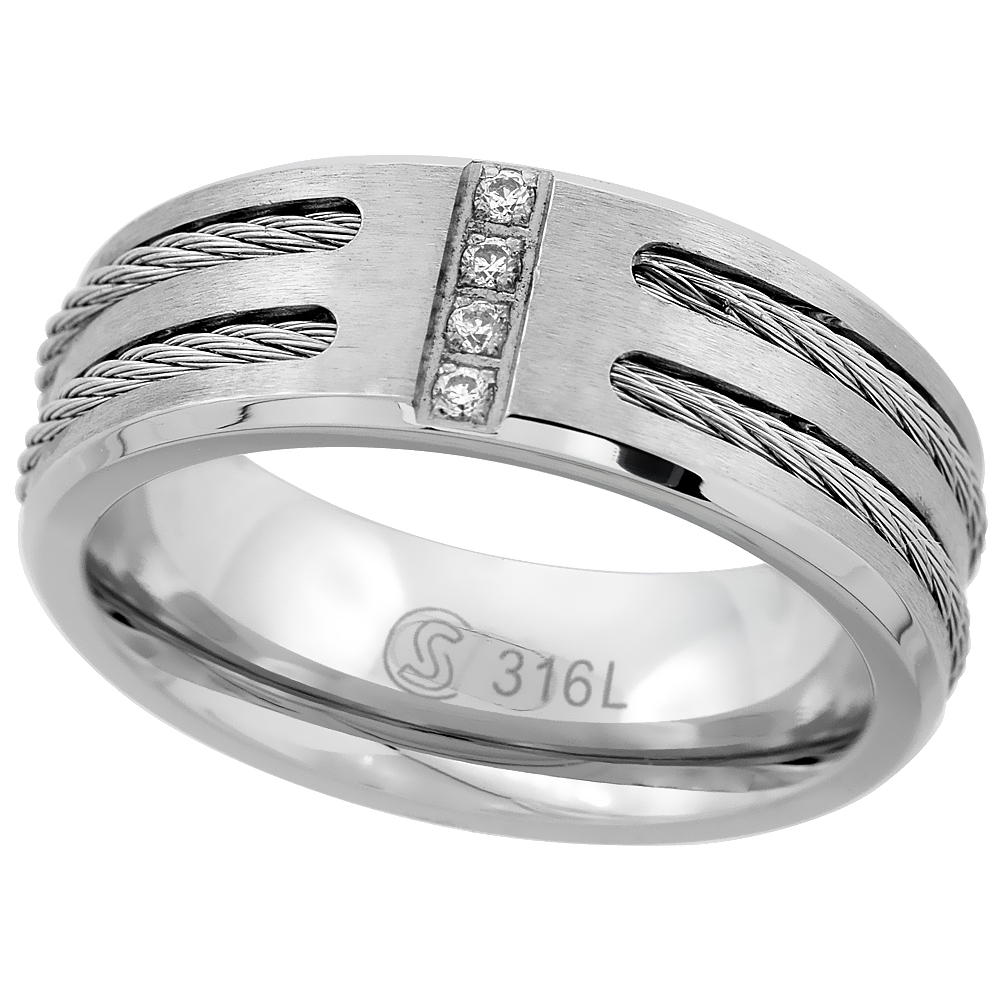 Stainless Steel 8mm CZ Wedding Band Ring Double Cable Inlay Beveled Edges Matte Comfort fit, sizes 8 - 14