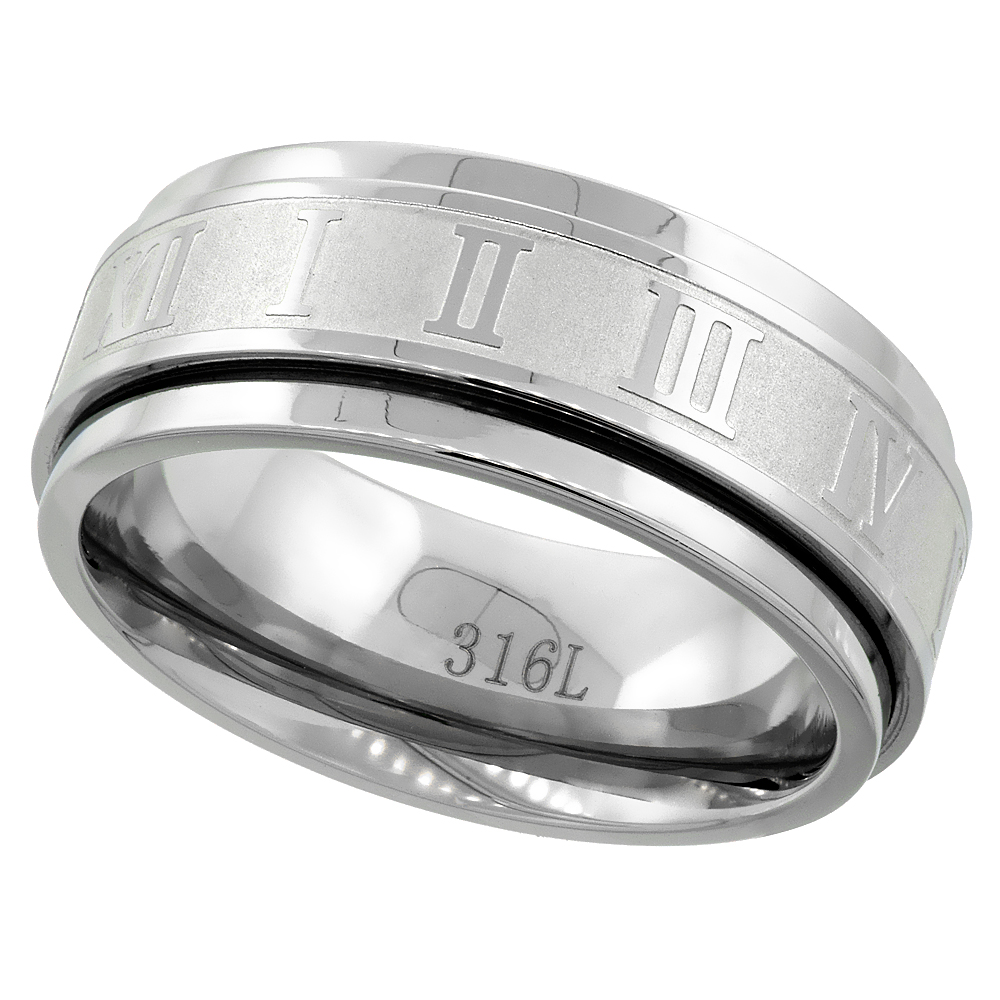 Surgical Stainless Steel 8mm Roman Numerals Spinner Ring Wedding Band, sizes 7 - 14