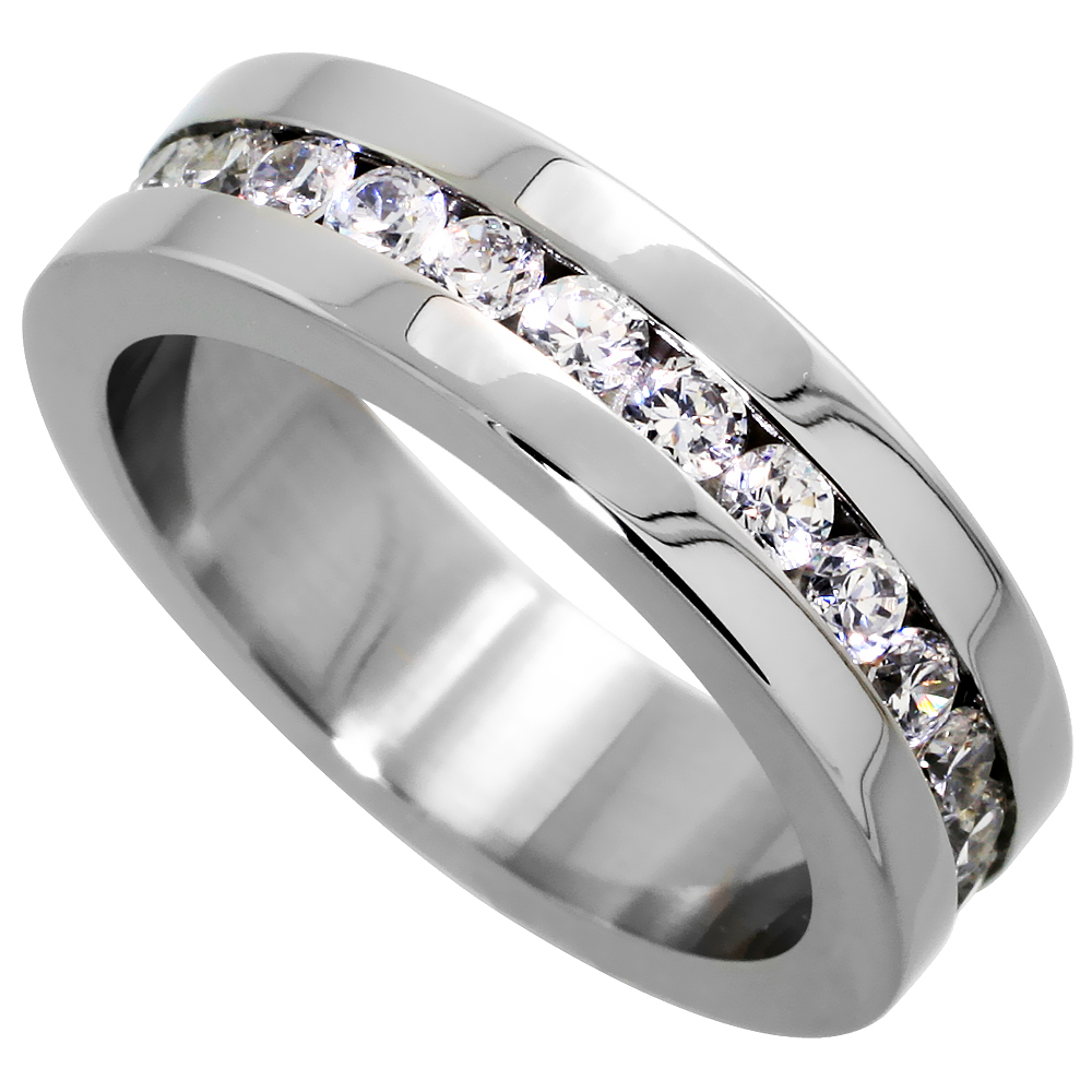 6MM Ladies Eternity Titanium Ring Cubic Zirconia Wedding Band with CZ Sizes 4 to 9