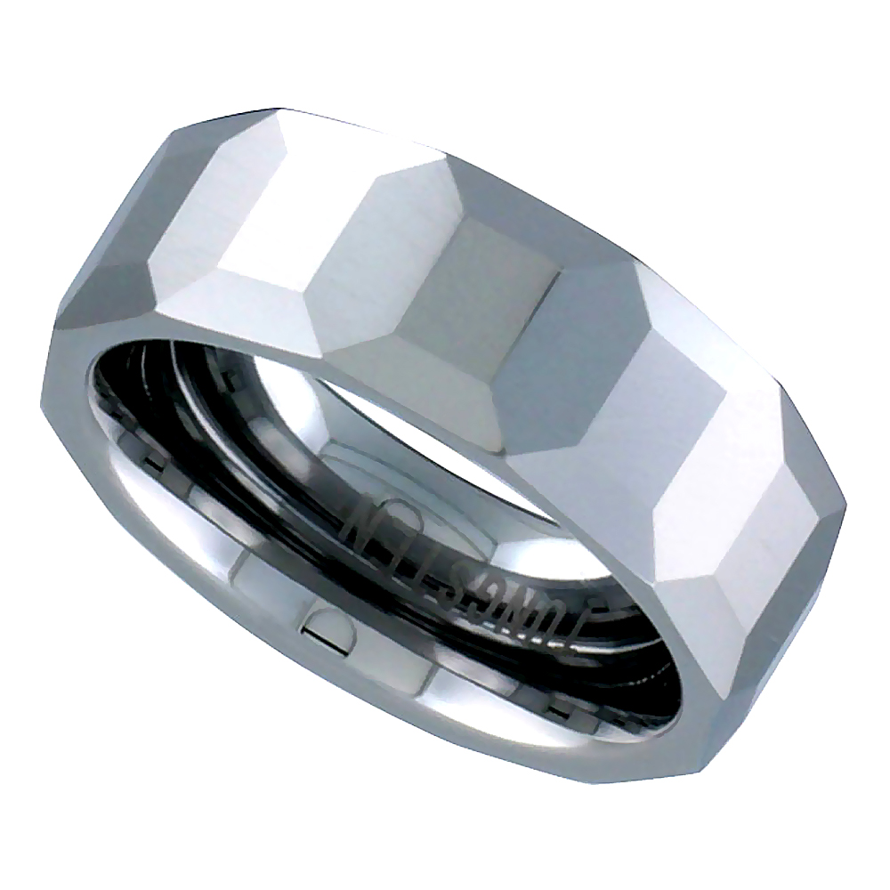 Tungsten Carbide 8 mm Faceted Dome Wedding Band Ring Octagon Patterns, sizes 5 to 14