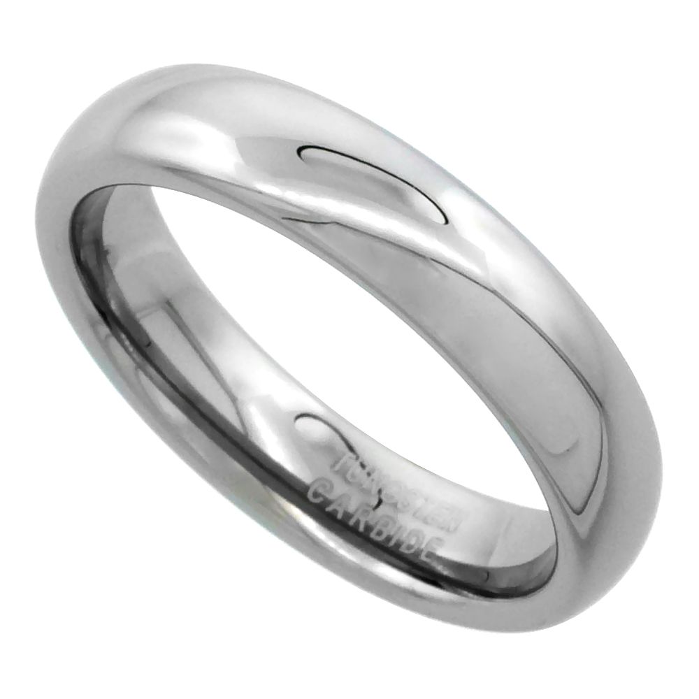 Tungsten Carbide 5mm Comfort Fit Domed Wedding Band Ring for Him & Her Mirror Polished Finish, sizes 5 to 15